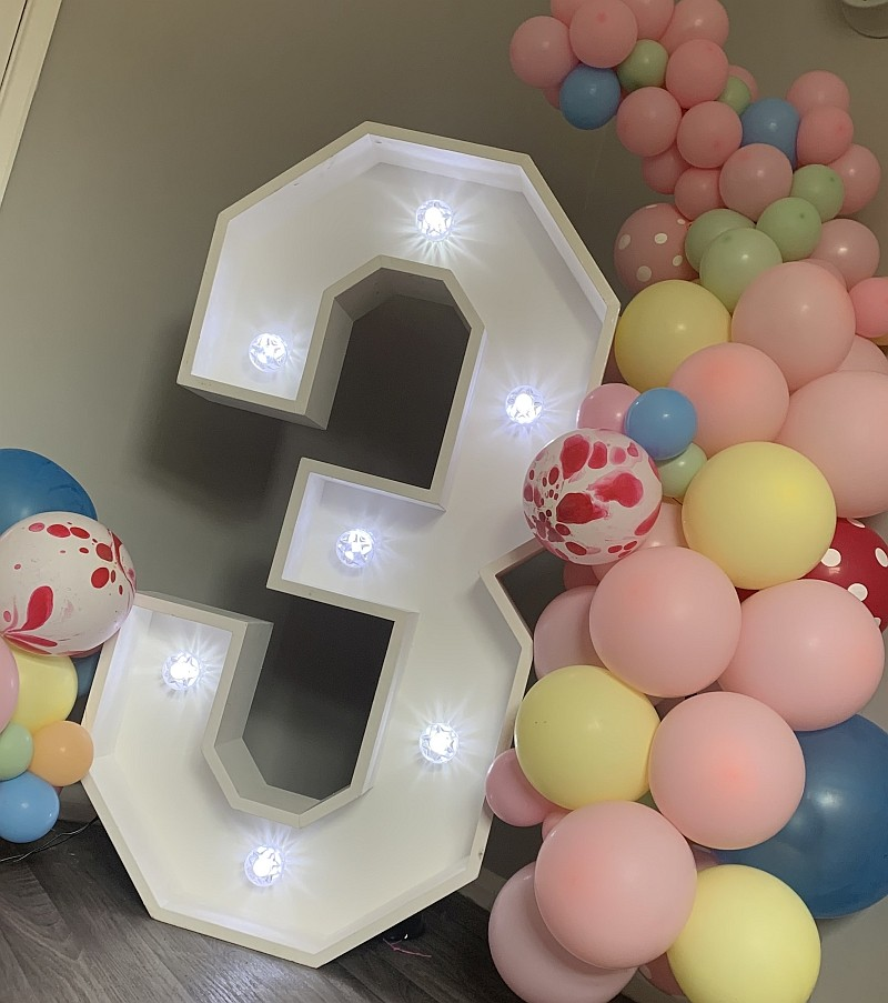 Personalised Giant LED Number with Balloons for birthday party