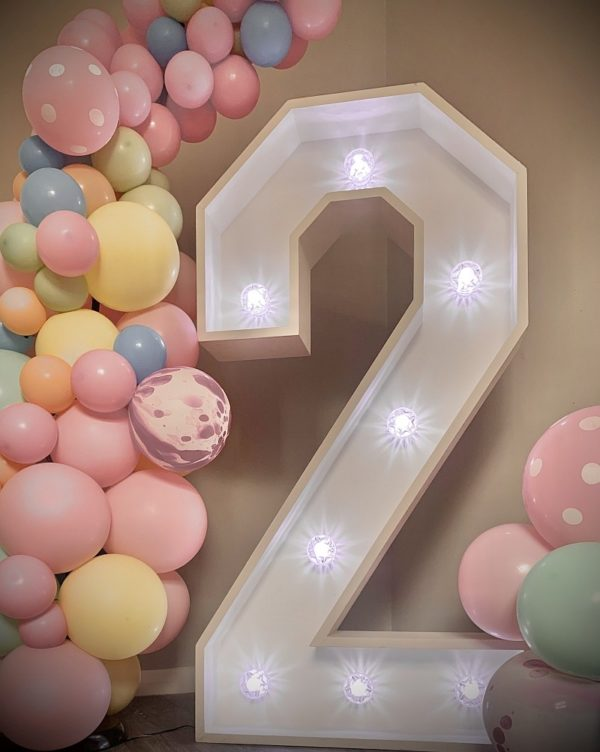 Giant LED Numbers with Balloons for Birthday Parties